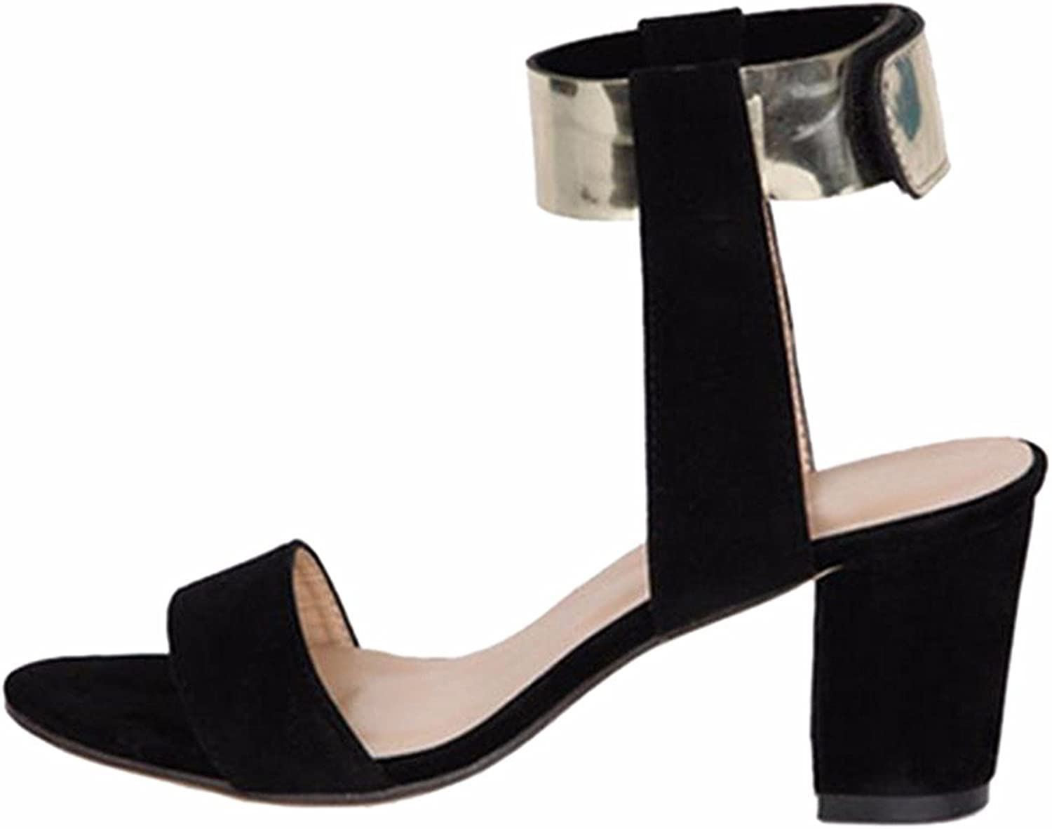 Qiyun Summer Women Plus Size Sexy Open Toe Faux Suede New Chunky Heel Sandals shoes