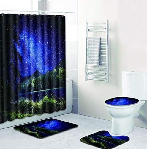 EZEZWSNBB 4-teiliges Duschvorhang-Set mit rutschfesten Teppichen, WC-Deckelbezug und Badematte, Blauer Sternenhimmel-Duschvorhang wasserdicht mit 12 Haken 180x180 cm Haus Dekoration