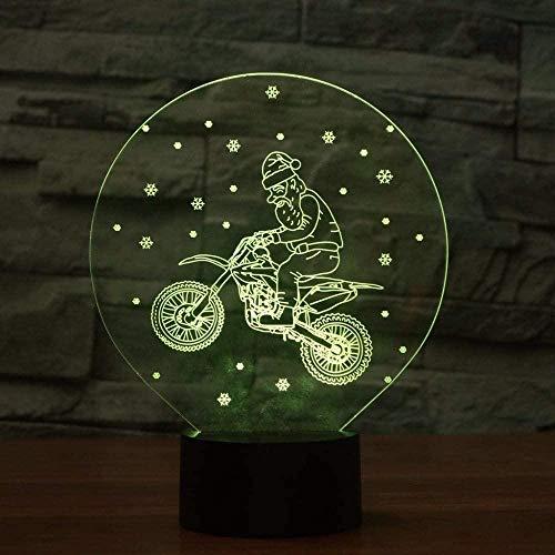 Accesorio de luz de fundición de Motocicleta 3D 7 Colores Luz de Noche LED para niños Botón táctil Lámpara de Mesa USB Bebé Sueño Decoración del hogar Regalos