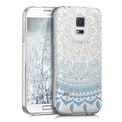 kwmobile Hülle kompatibel mit Samsung Galaxy S5 Mini G800 - Hülle Handy - Handyhülle - Indische Sonne Blau Weiß Transparent