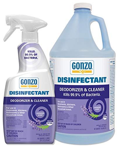 Gonzo Natural Magic Disinfectant Spray & Multipurpose Cleaner - Lavender Value Pack 24 oz. and 128 oz. Refill - Odor Eliminator, Disinfectant, Flood Fire Water Damage Restoration