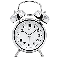 TXL 3.5 Twin Bell Alarm Clocks Kids, Battery Operated with Nightlight, Handheld Sized, Non-Ticking Silent Metal Alarm Clocks for Bedrooms,Heavy Sleepers Bedside Analog Loud Alarm Clock,Silver