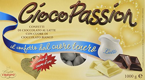 Crispo Confetti Cioco Passion Cioccolato al Latte con Cuore di Cioccolato Bianco - Colore Bianco - 3 confezioni da 1kg [3 kg]