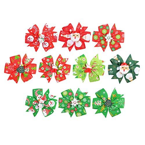 Beaupretty 10 Piezas de Horquillas para El Pelo para Niñas de Navidad Boutique Arco Cocodrilo Clips de Cinta de Grogrén Horquillas Horquillas Barrettes ( Color Mixto )