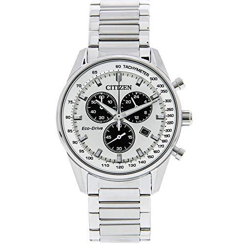 Citizen Herren Chronograph Quarz Uhr mit Edelstahl Armband AT2390-82A