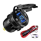 YONHAN Quick Charge 3.0 Dual USB Charger Socket, Waterproof Power Outlet Fast Charge with LED Voltmeter & Wire Fuse DIY Kit for 12V/24V Car Boat Marine ATV Bus Truck and More