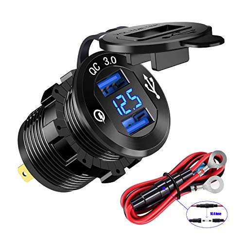 YONHAN Quick Charge 3.0 Dual USB Charger Socket, Waterproof Aluminum Power Outlet Fast Charge with LED Voltmeter & Wire Fuse DIY Kit for 12V/24V Car Boat Marine ATV Bus Truck and MoreYONHAN