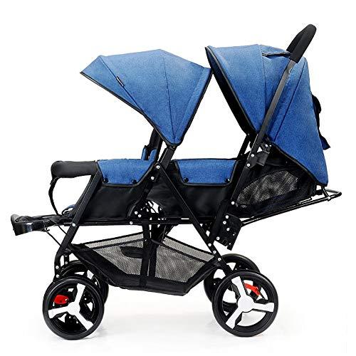 Poussetter Yhz@ Double Chariot Infantile, Version légère de jumeau de bébé de Double Pliante de Version biplace de Chariot de bébé, Roues Anti-déflagrantes (Couleur : Bleu)