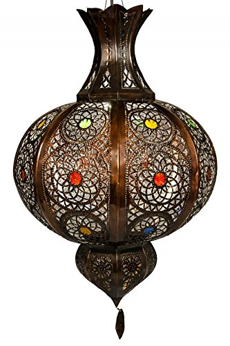 Orientalische Lampe Pendelleuchte Essam 70cm Groß E27 Lampenfassung | Marokkanische Design Hängeleuchte Leuchte aus Marokko | Orient Lampen für Wohnzimmer, Küche oder Hängend über den Esstisch