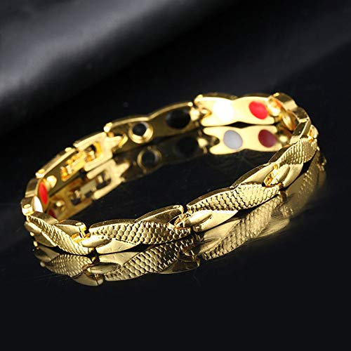 XKMY Bracelet for Women Men Women Twisted Bracelet Healthy Magnetic Therapy Arthritis Pain Relief Wristband (Metal Color : Gold)