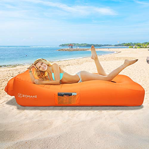 ZOMAKE Inflatable Lounger Couch with Pillow, Anti-Air Leaking & Portable Air Sofa Hammock for Beach, Backyard, Camping, Picnics, Music Festivals