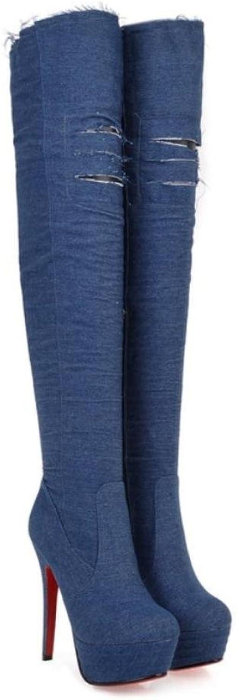 NVXUEZIX Frauen Schuhe Denim Reißverschluss 13,5 cm High Heels Über die Knie Stiefel Spitz-lässig Stil Verdicken Warm, 38    Modernes Design