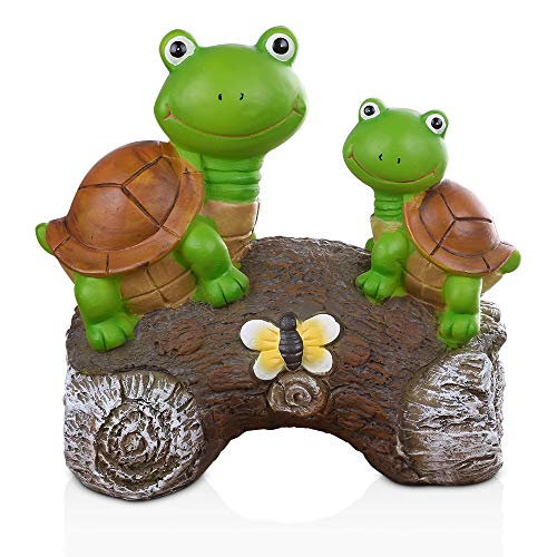 GROWNEER 9 Inches Solar Powered Garden Statue Resin Lawn Ornaments Indoor Outdoor Turtle Sculpture for Holiday Gift, Home Décor, Garden, Patio, Yard, Balcony