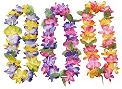 """Made of polyester Measure 36"""" x 4 1/4"""" diameter Receive 1 packs of 12 Leis COLORFUL - Comes in an assortment of mixed tropical island colors."""