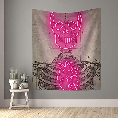 Tapiz de neón con diseño de calavera de corazón de la muerte vintage tapices pequeños de pared para dormitorio, sala de estar, ventana y decoración estética, divisor de habitación de 152,4 x 129,5 cm