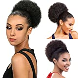 Eureka Hair Afro Puff Drawstring Ponytail for Natural Hair, Drawstring Ponytails Extensions Natural Black Color (#1B) Kinky Curly Afro Ponytail with Two Clips, Short Afro Buns for Black Women (Natural Black #1B)