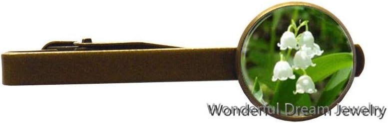 Flower Glass Tie Clip Lily Flower Photo Glass Dome Tie Clip Tie Pin Lily Tie Clip,PU328 (Brass)