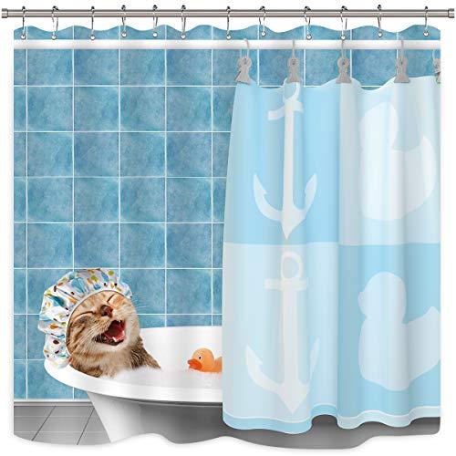 Riyidecor Cat Shower Curtain Funny Cute Animal Taking a Bath Smile Shower Cap Teal Ocean Blue Bathroom Rubber Duck Bathroom Home Decor Fabric Polyester Waterproof 72x72 Inch 12 Pack Plastic Hooks