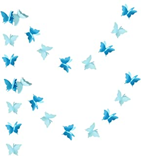 Zilue Butterfly Banner Decorative Paper Garland Wedding, Baby Shower, Birthday & Theme Decor 110 Inches Long Set of 2 Pieces Blue