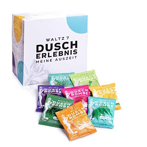 WALTZ7 Original Duschbomben Set, 16 Stück mit 8 Düften, Aromatherapie mit natürlichen ätherischen Ölen, Wellness Geschenkset, Qualitätsmarke aus Österreich,...