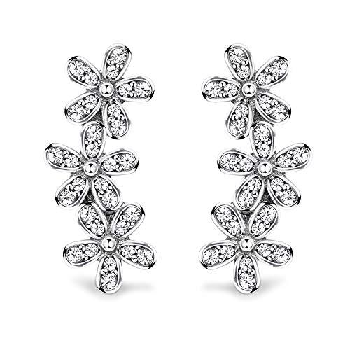 Sllaiss 925 Sterling Silver Daisy Flowers Crawler Earrings for Women Vintage Flower Drop Stud Ear Climber Hypoallergenic
