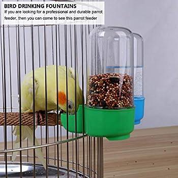 VILLCASE 3 Pcs Oiseau Mangeoire Deau Automatique Perroquet Bouteille Deau Pet Oiseau en Plastique Abreuvoir Bol Abreuvoir Clip pour Perroquets Perruche Volière Cockatiel (Rouge + Bleu +