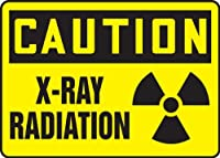 Accuform MRAD637VA Aluminum Safety Sign Legend CAUTION X-RAY RADIATION with Graphic 10 Length x 14 Width Black on Yellow [並行輸入品]