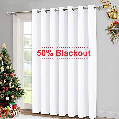 NICETOWN 50% Light Blocking Vertical Blinds for Sling Door, Silver Grommet Top Window Curtains, Curtains for Patio, Extra Wide Drapes (White, W100 x L84)