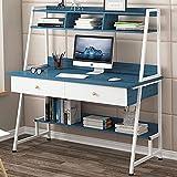 Escritorio de oficina para el hogar escritorio de oficina industrial Mesa de estudio escritorio escritorio escritorio mesa de trabajo con estantería y cajones E 100CM-120CM_D