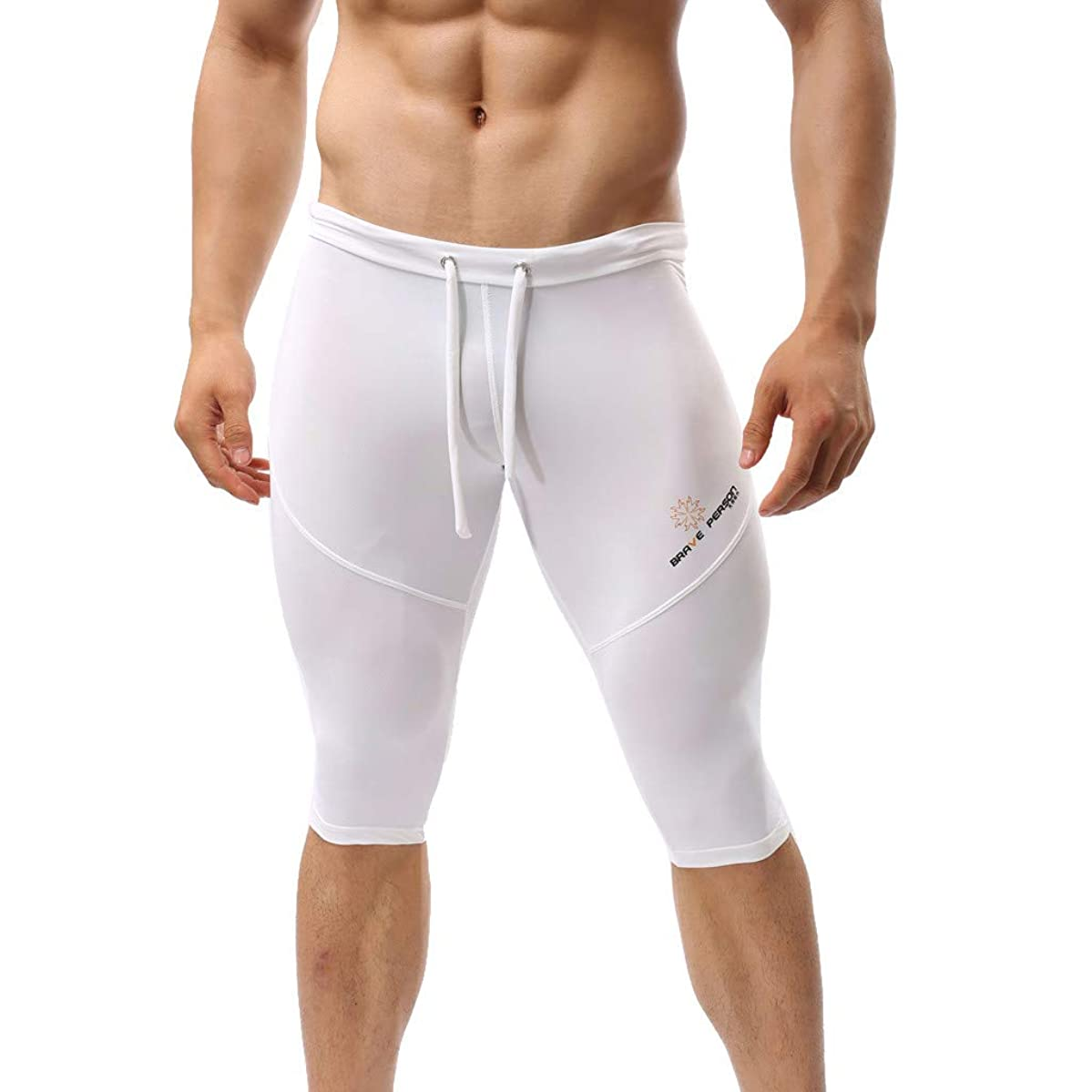 Homlifer Mens Swimming Trunks Summer Solid Color Sexy Long Sport Fitness Shorts Tight-Fitting Swim Shorts Men Ultrathin Swim Pants Water Sports Quick-Drying Beach Pants Swimming Surfing S-L