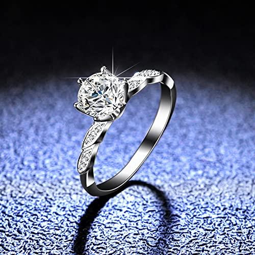 HCMA Anillo de Plata de Ley 925 Anillo de Taladro de Moissanite Moda Mujer Anillo de Diamantes de 1ct Seis Garras con Incrustaciones de Diamantes Garra D-Color Mosan Diamante