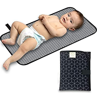 Portable Diaper Changing Pad - Waterproof Foldable Baby Changing Mat - Travel Diaper Change Mat - Lightweight Changing Pads for Baby - Baby Changer - Machine Washable - Small Changing Pad (Black Geo)