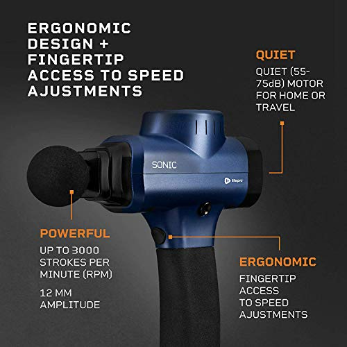 Sonic Handheld Percussion Massage Gun - Deep Tissue Massager for Sore Muscle and Stiffness - Quiet, 5 Speed High-Intensity Vibration - Quick Rechargeable Device - Includes 5 Massage Heads (Blue)