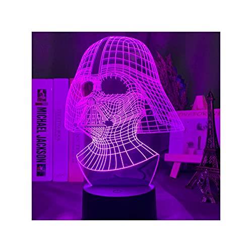 Veilleuse illusion 3D USB, Star Wars Darth Vader Face 3D LED Night Light pour la décoration de la chambre cadeau dLight avec lumière d'illusion acrylique
