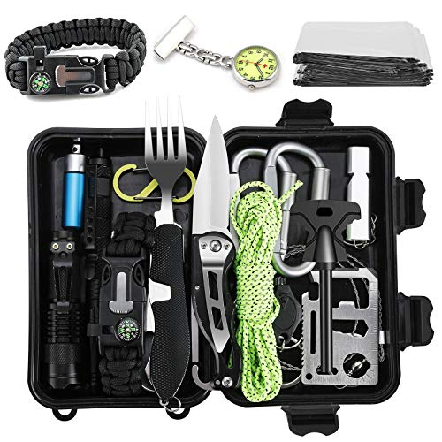 Jooheli Survival Kit, Outdoor Survival Kit 20 in 1, Survival Ausrüstung with Survival Bracelet Flashlight Lifesaving Blanket Knife and Others for Hiking Camping Climbing Cars