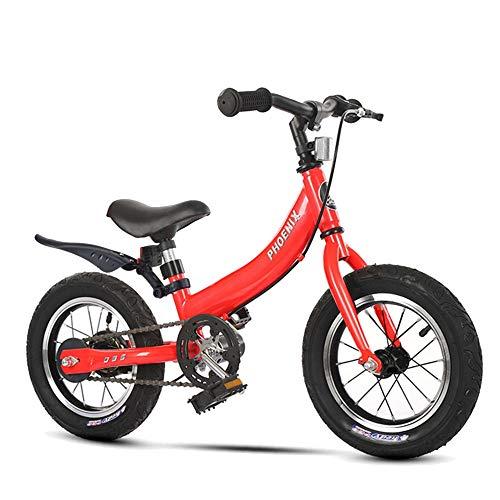 FUFU Bicicleta para niños 2-8 años de Edad Bicicleta de niño 12/14/16 Pulgadas Chica Bicicleta, 4 Colores (Color : Red, Size : 14in)