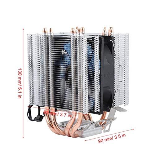 12V CPU-koeler, processorkoeler, radiator met enkele ventilator, compatibel met 4 warmtepijpen 3-lijns enkele ventilator/vier warmtepijpen/aluminium basis/hoog rendement/warmteafvoer (blauw licht)