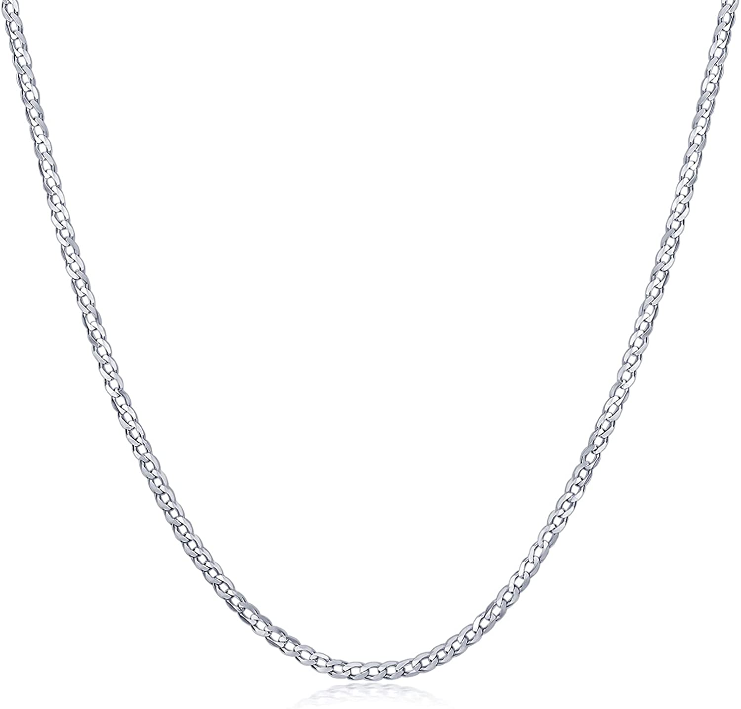 CEKAMA 2MM Boston Mall White Gold Plated Sterling Curb Cuban 55% OFF Link Silver Cha