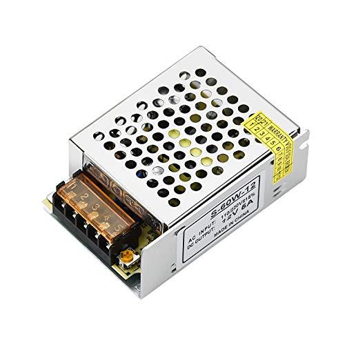 Fuente de Alimentación Conmutada LED, 12V 5A 60W Transformadores Fuente Alimentación Conmutada para Tira de LED - Caja de Aluminio
