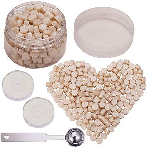 CRASPIRE Perline Con Sigillo di Cera 210PCS, Bianco Perla Ottagono Kit Perle Ceralacca Confezionato In Lattina Sigillo di Cera Da 9 mm Con 2 pz Candele Da Tè Bianco 1 cucchiaio di Fusione Metallo Cera