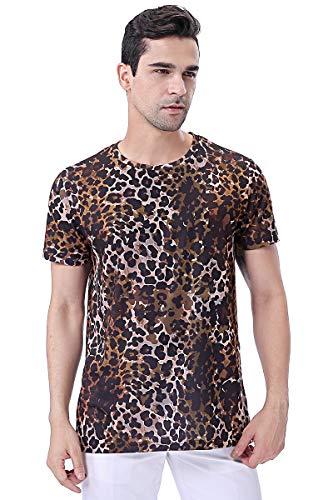 COSAVOROCK Camiseta de Estampado Leopardo Camuflaje de Manga Corta Hombre
