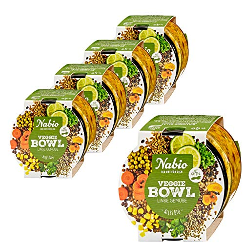 "Nabio Veggie Bowl To go \""Linse Gemüse\"", Bio Fertiggericht, Feinkostsalat im Glas vegan, 5er Pack (5 x 235g)"