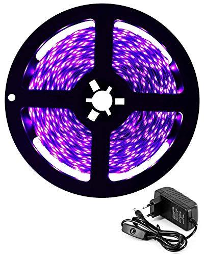 DeepDream 5M UV Schwarzlicht LED Streifen mit Netzteil,UV LED Strip 300 LEDs Lichtband,Selbstklebend 2835 LED Band für Dekorationsbeleuchtung Haus Party Bar Disco Karneval[Energieklasse A+]
