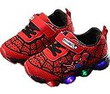 Desconocido Zapatillas de Deporte Luminosas LED Spiderman para Niños Pequeños Zapatillas Antideslizantes para Caminar con Luz (23,Red)