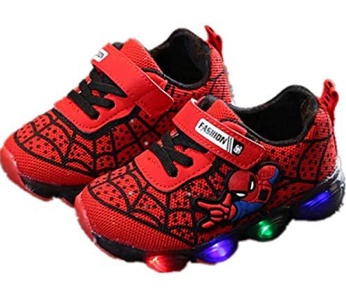 Desconocido Zapatillas de Deporte Luminosas LED Spiderman para Niños Pequeños Zapatillas Antideslizantes para Caminar con Luz (25,Red)