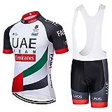 ZHLCYCL Traje Ciclismo Hombre, Maillot Ciclismo y Culotte Ciclismo con 5D Gel Pad para Verano Deportes al Aire Libre Ciclo Bicicleta, UAE-XIE, L