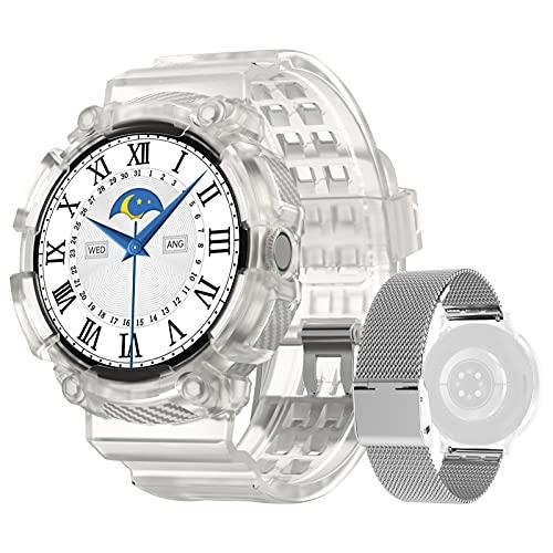 DTNO. I Smartwatch Mujer 1.3 pulgadas HD de Pantalla de Círculo Completo Reloj Deportivo con Función de Teléfono Podómetro Monitor Frecuencia Cardíaca Rastreador de Fitness iOS Versión Android(Plata)