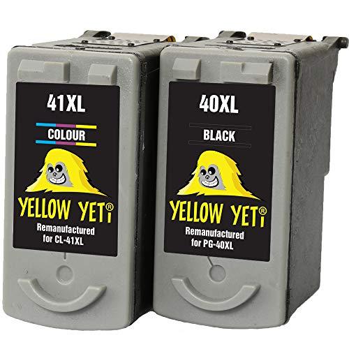 Yellow Yeti PG-40 CL-41 Cartuchos de Tinta remanufacturados Negro/Color para Canon Pixma iP2600 MP140 MP460 iP1800 iP1900 iP2500 MP190 MP210 MP220 MP170 MP180 MP160 MP450 MP470 MP150 MX300 MX310