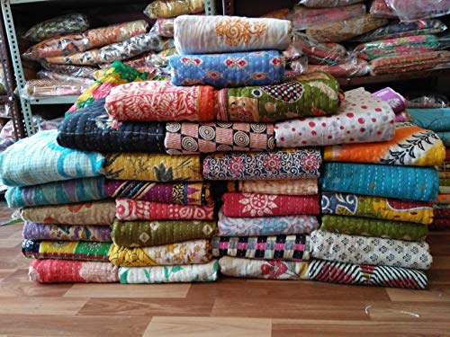 Assorted Vintage Handmade Indian Tribal Kantha Quilts Vintage Cotton Bed Cover Throw Old Assorted Patches Made Rally (1)