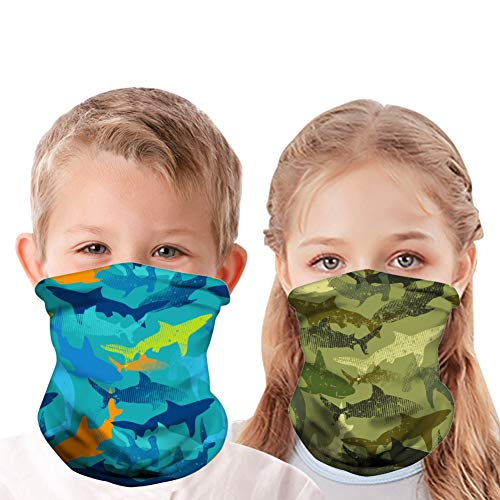 Yuxi 2 Pcs Kids Face Mask Neck Gaiter Kids Shark Mask with Filter Kids Bandana Face Mask Face Cover Scarf Sun Uv Protection Boy and Girls